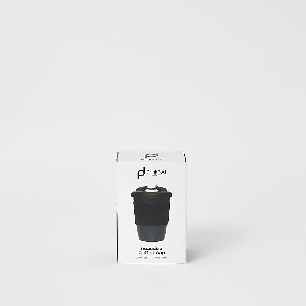 DrinkPod - Zwarte herbruikbare koffiekop van 12 oz