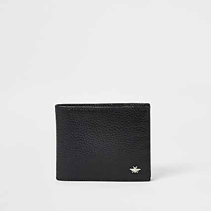 Black leather textured foldout wallet