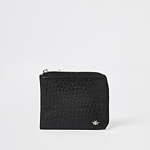 Portefeuille en cuir noir zippé effet croco en relief