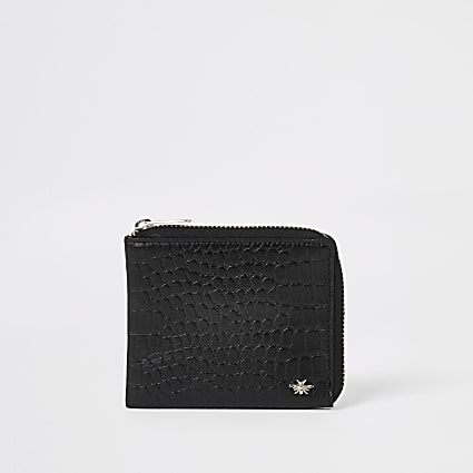 Black leather croc embossed zip wallet