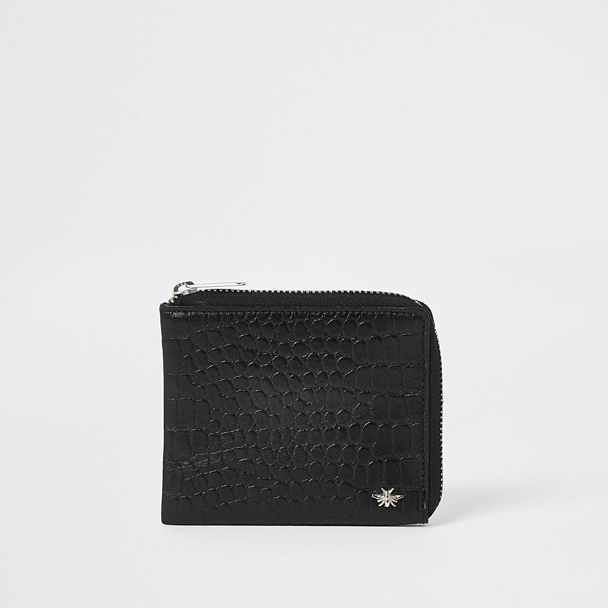 Black leather croc embossed zip wallet