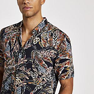 Zwart leren slim-fit overhemd met print