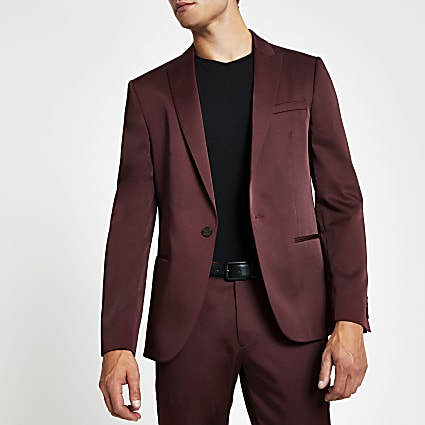 Red single breasted skinny suit jacket