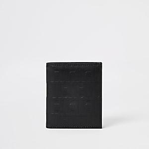 Porte-cartes noir avec monogramme RI vintage
