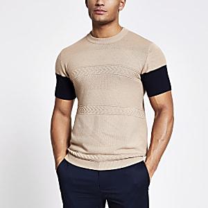 MaisonRiviera- Bruin gebreid T-shirt met kleurvlakken