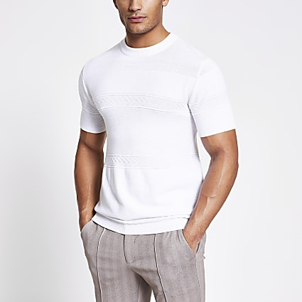 Maison Riviera white slim fit knit T-shirt