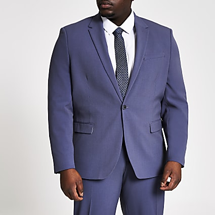 Big and Tall blue skinny suit jacket