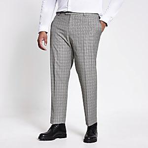 Big and Tall - Bruine geruite pantalon