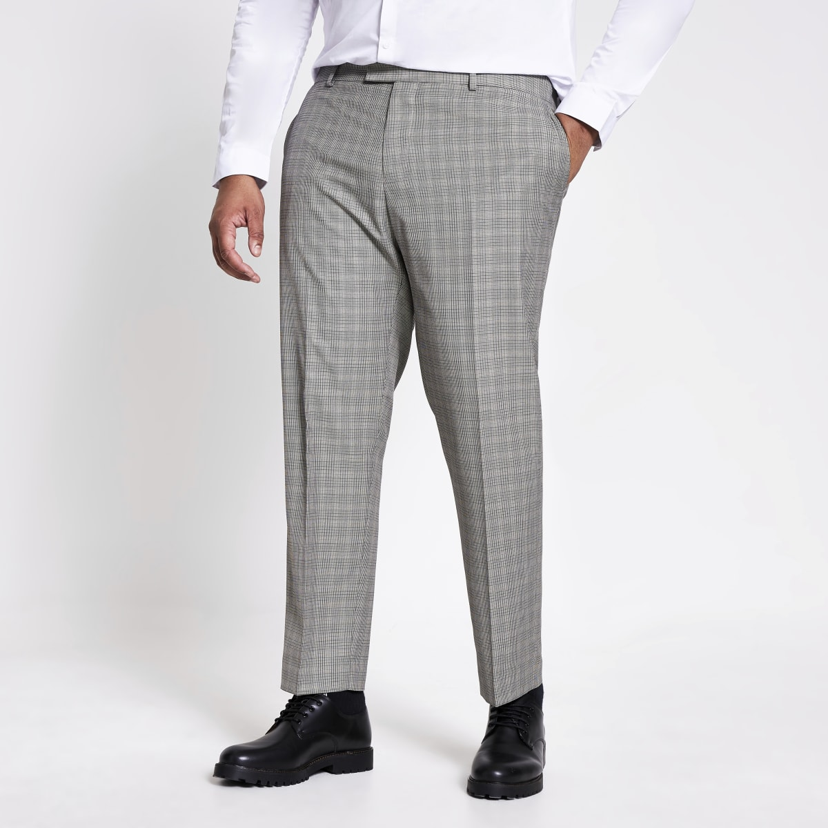 Big and Tall brown check suit trousers