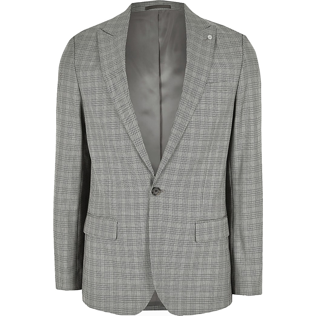 Big and Tall brown check suit jacket