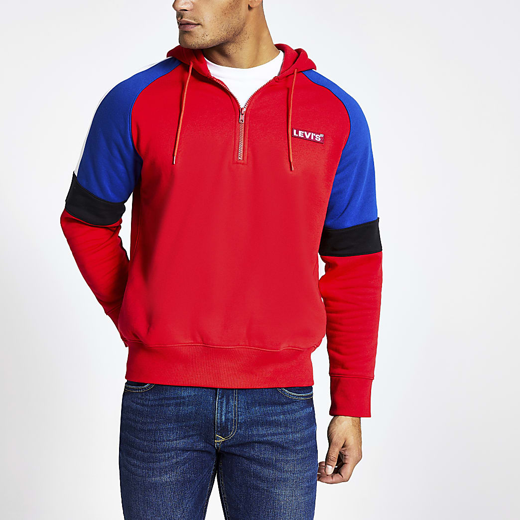 Levi's red colour block half zip hoodie