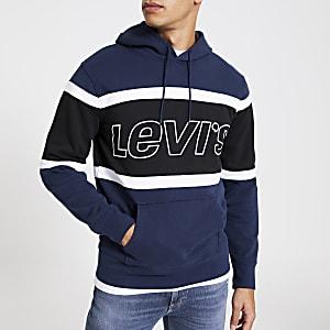 Levi's - Marineblauwe hoodie met lange mouwen en vlakken