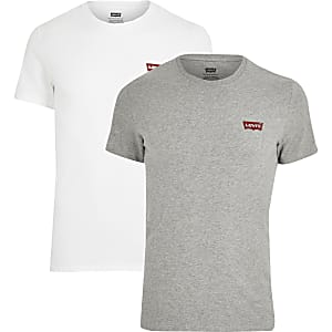 Levi's – 2er-Pack Slim Fit T-Shirts in Weiß mit Logo