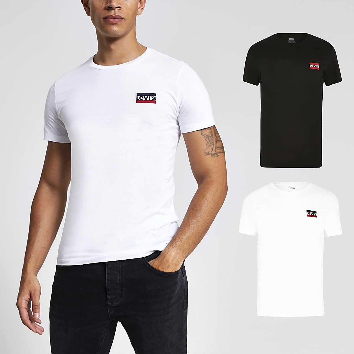 Levi's black slim fit T-shirt 2 pack