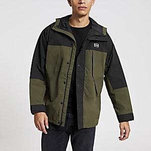 Levi's – Leichte Parka-Jacke in Khaki im Blockfarb-Design