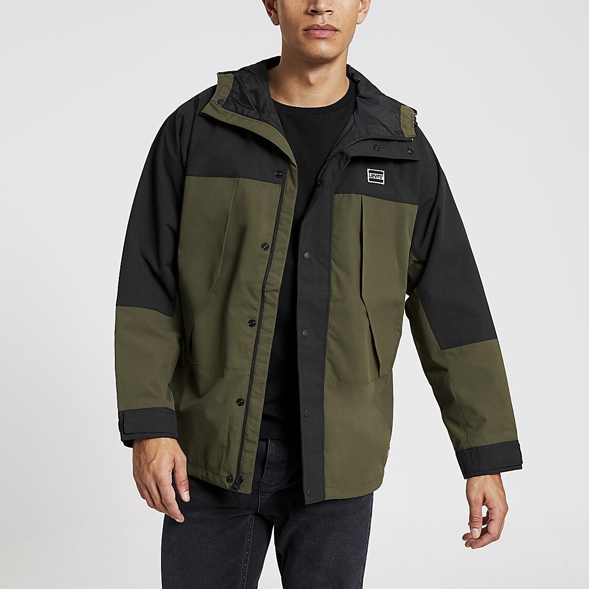 Levi's khaki lightweight blocked parka jacket