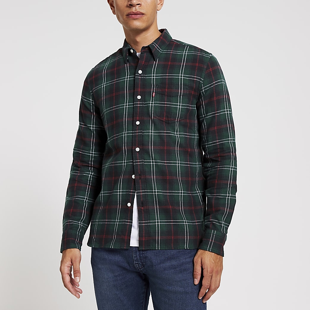 Levi's green check long sleeve shirt