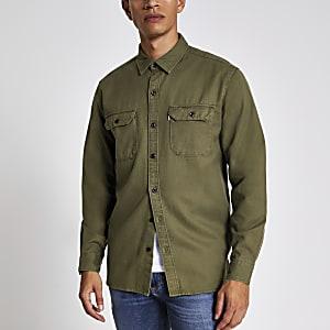 Levi's - Kaki tencel overhemd met lange mouwen