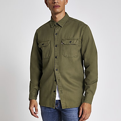 Levi's khaki long sleeve tencel shirt