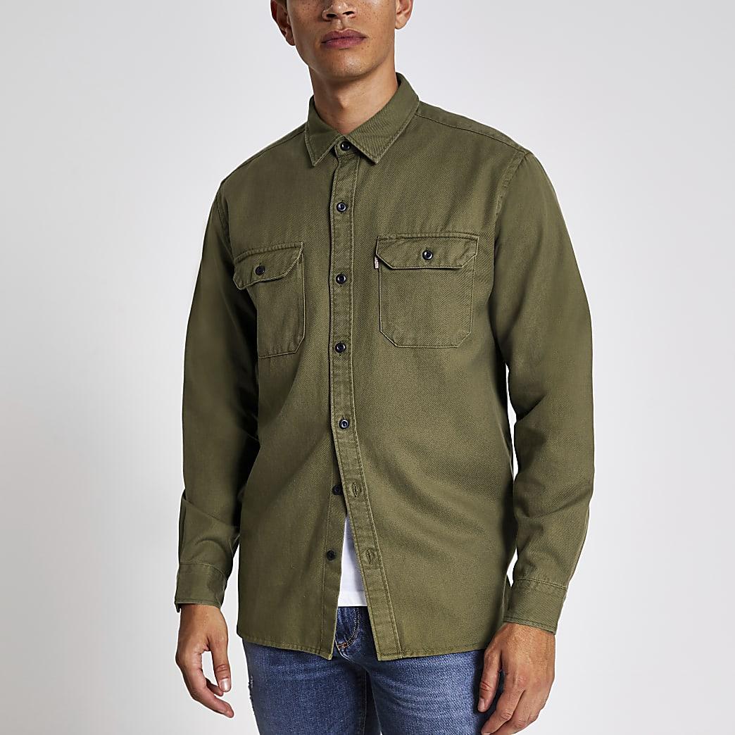 Levi's khaki long sleeve tencel shirt