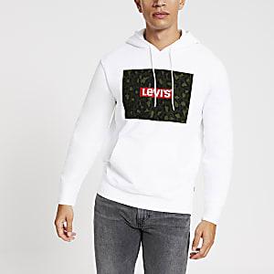 Levi's - Witte hoodie met lange mouwen en camouflageprint