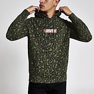 Levi's – Sweatà capuche kaki camouflageà logo
