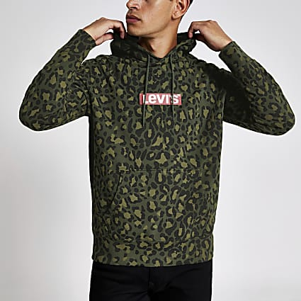 Levi's khaki camo logo hoodie