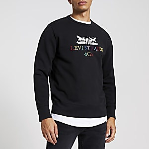 Levi's black embroidered sweatshirt