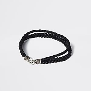 Zwarte leren gelaagde armband met kralen
