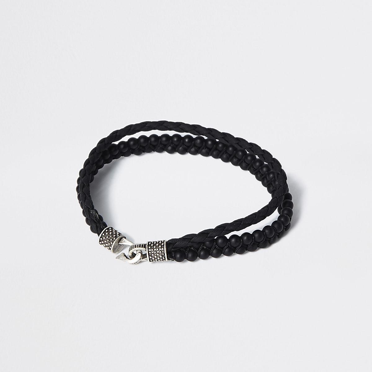 Black leather beaded layered bracelet