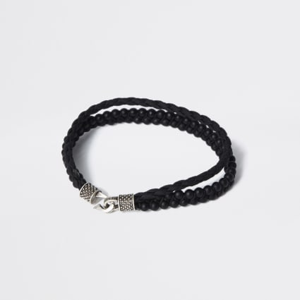 Black leather beaded layered bracelet
