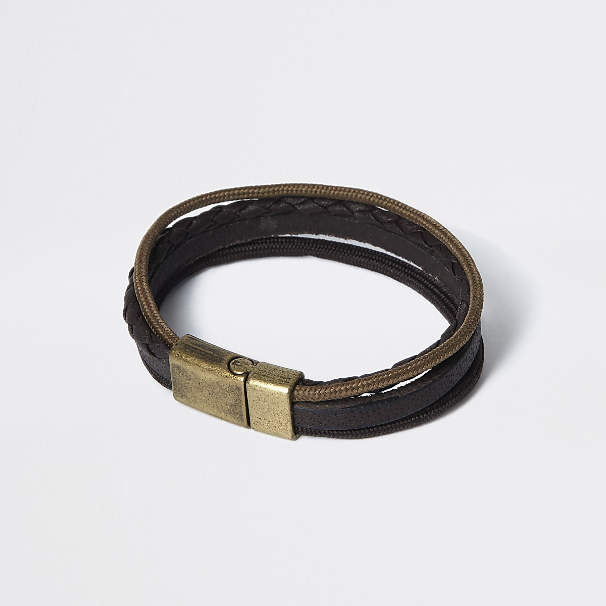 Brown leather layered bracelet