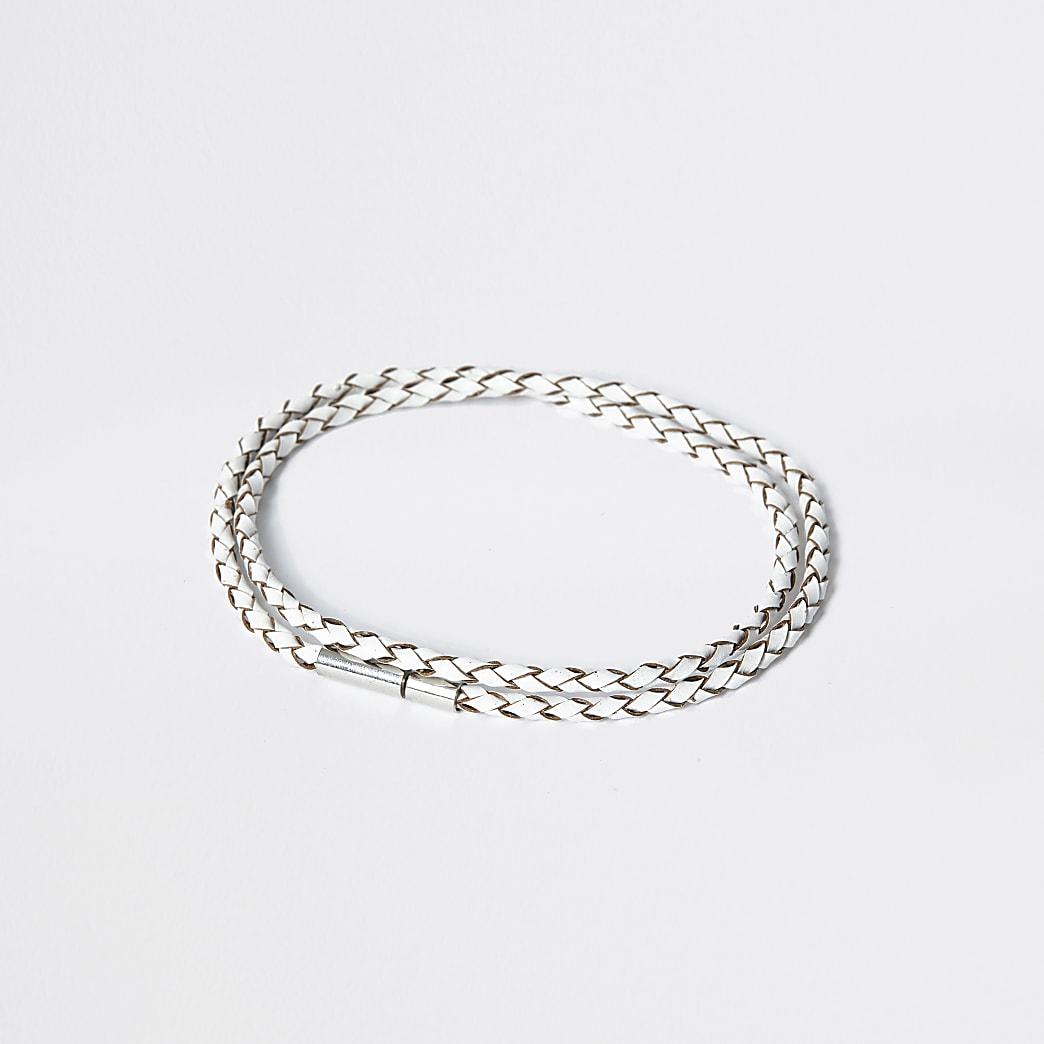 White leather wrap bracelet