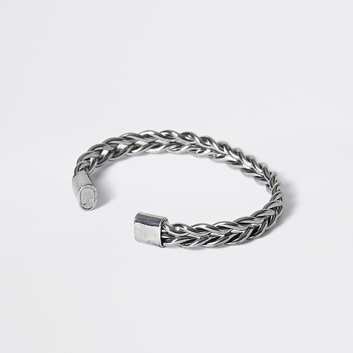 Silver colour plaited cuff bracelet