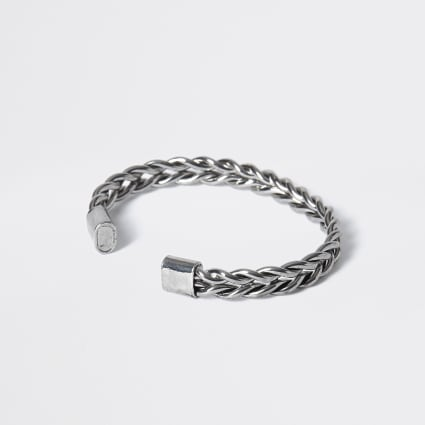 Silver colour plaited cuff bracelet