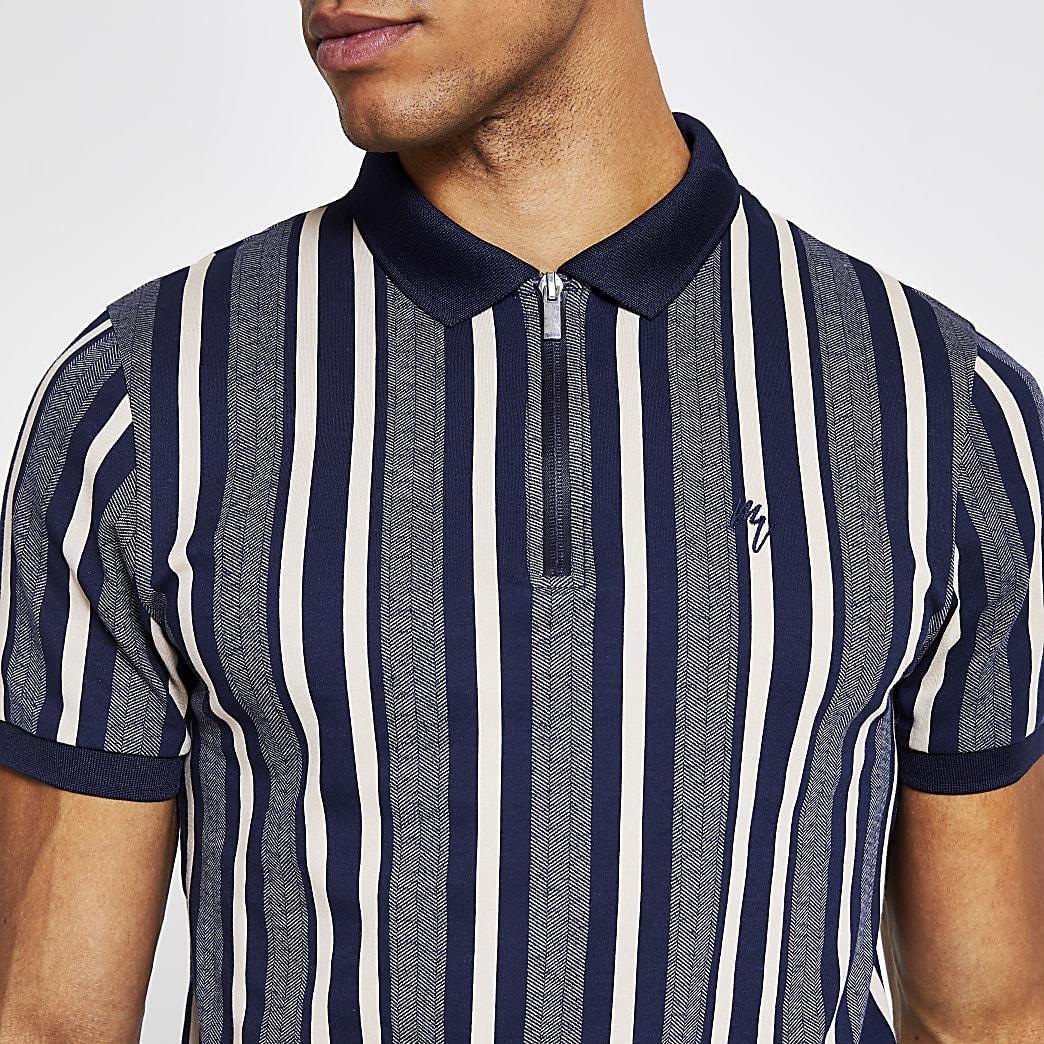 Navy slim fit Maison Riviera polo shirt