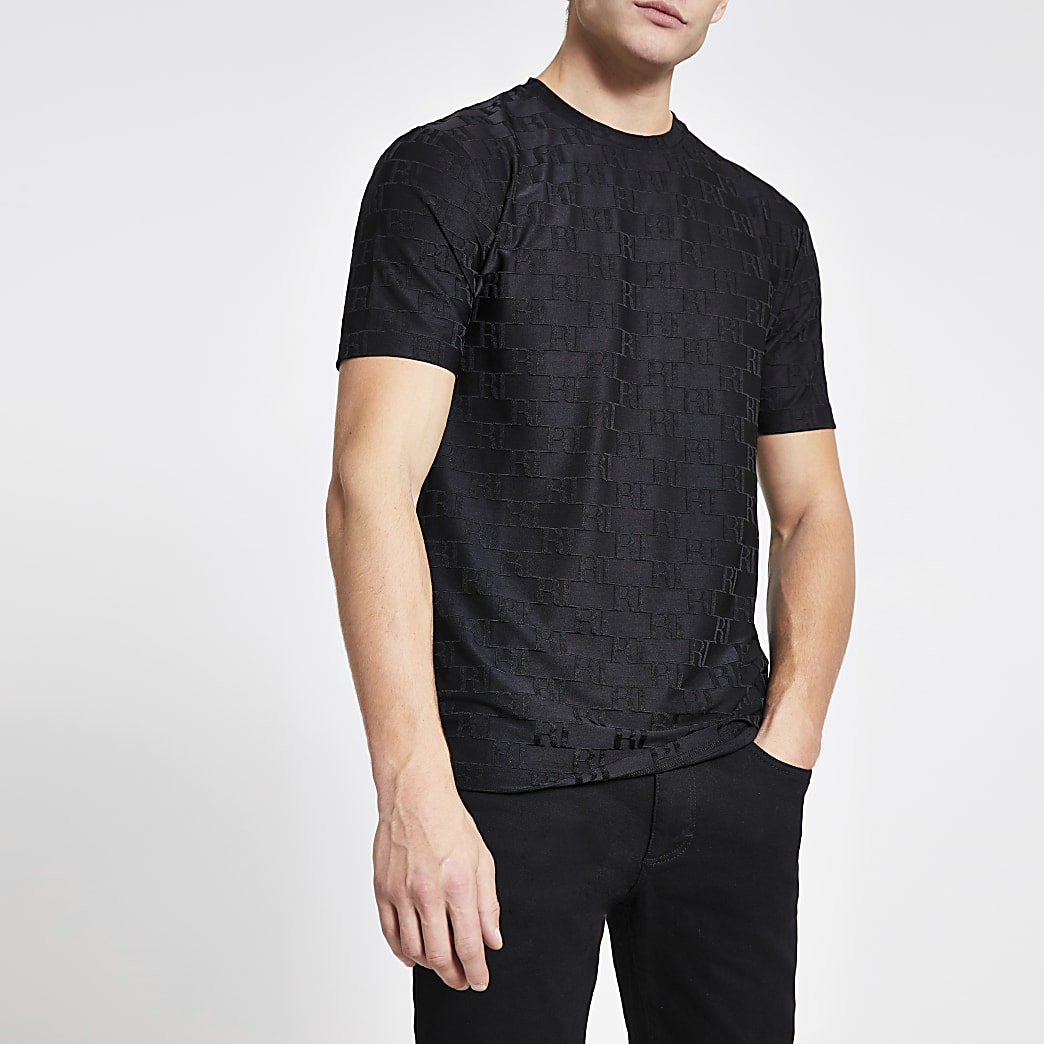 Zwart slim-fit jacquard T-shirt met RI-monogram