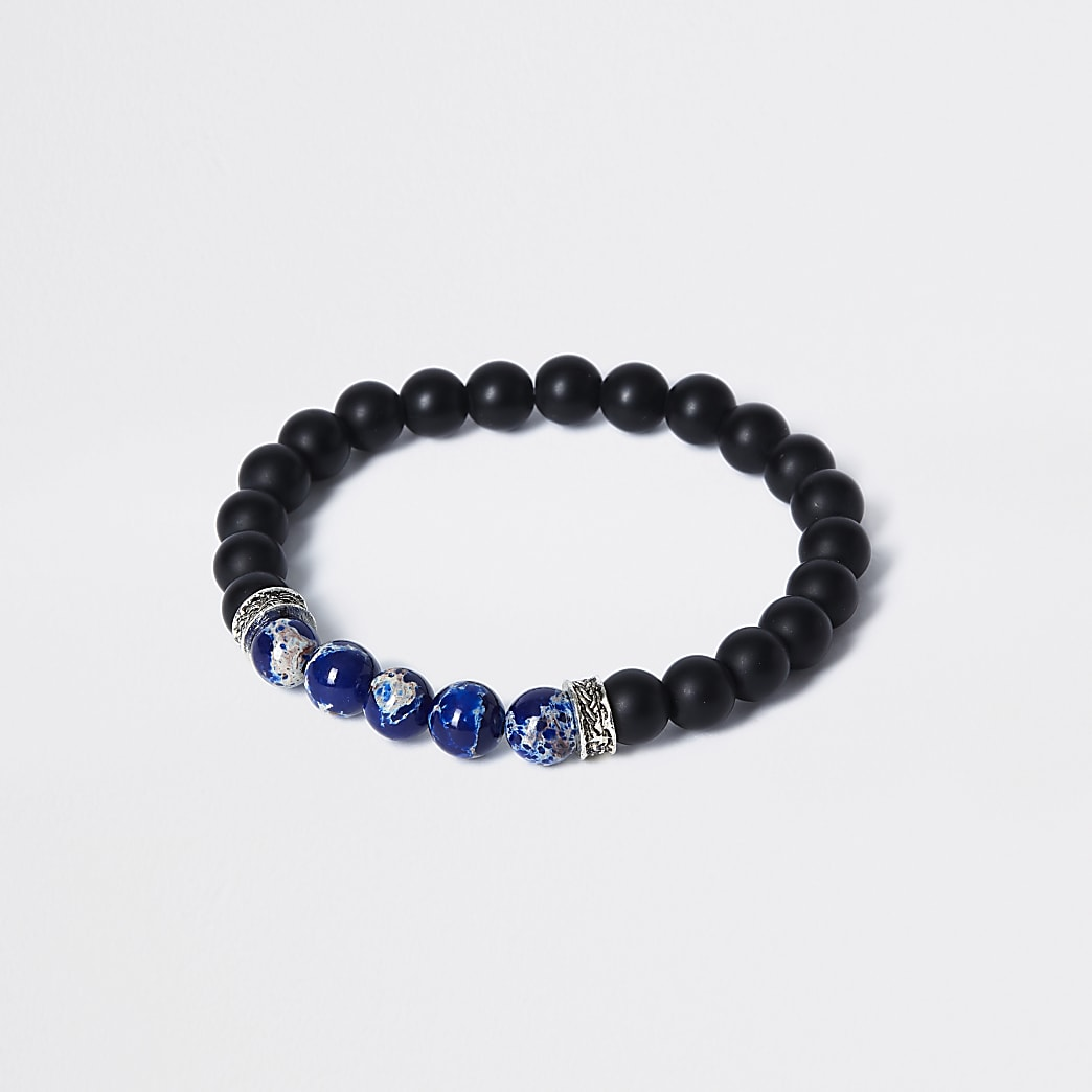 Black stone beaded bracelet