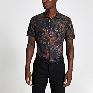 Zwart smal poplin-overhemd met bloemenprint en korte mouwen