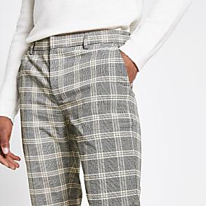 Pantalon habillé super skinny à carreaux écru