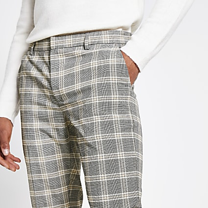 Ecru check super skinny smart trousers