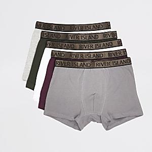Lot de 5 boxers longs kaki à taille RI métallisée