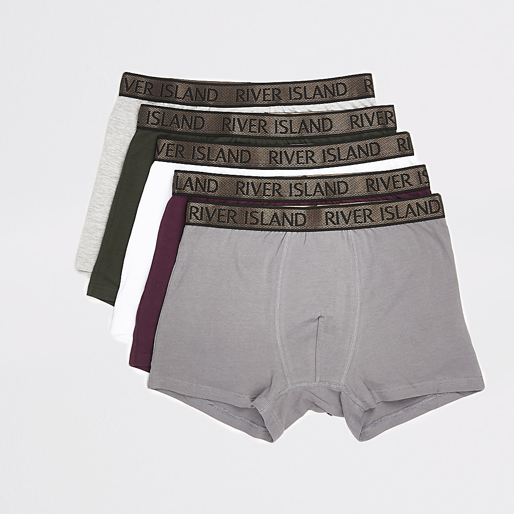 Khaki RI metallic waistband trunks 5 pack