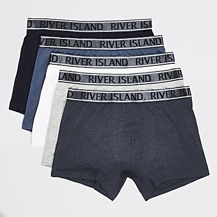 Blue RI metallic waistband trunks 5 pack