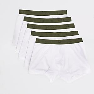 Witte boxers met khaki RI tailleband set van 5