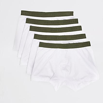 White RI khaki waistband trunks 5 pack
