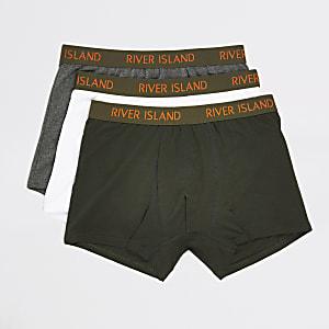 Khakifarbene Boxershorts mit RI-Bund im 3er-Pack