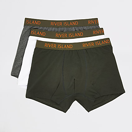 Khaki RI waistband trunks 3 pack