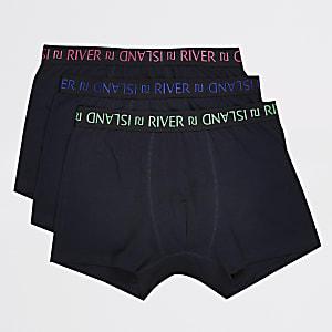 Lot de 3 boxers longs bleu marine à logo RI à la taille