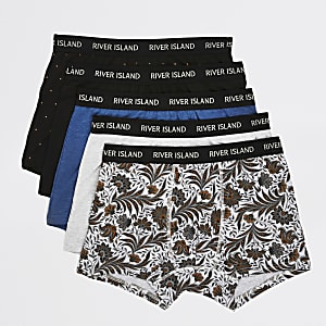 Lot de5 boxers longs à fleurs noir et gris